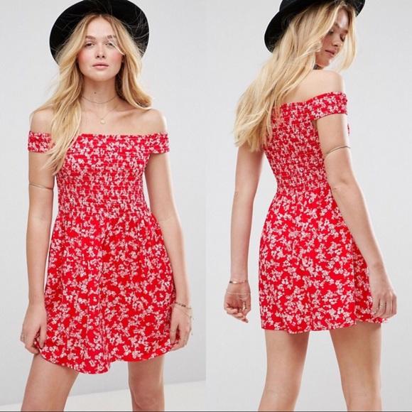 475723acadd1 Asos Red Floral Shirred Off Shoulder Sundress